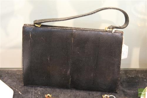 Vintage Lizard Skin Handbag; unusual clasp made in West Germany, with black leather coin purse, two small tears.