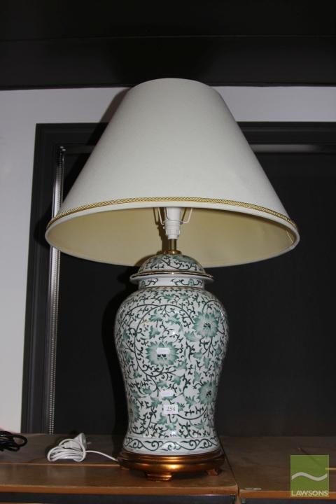 Ceramic Based Table Lamp with Gilt Highlights