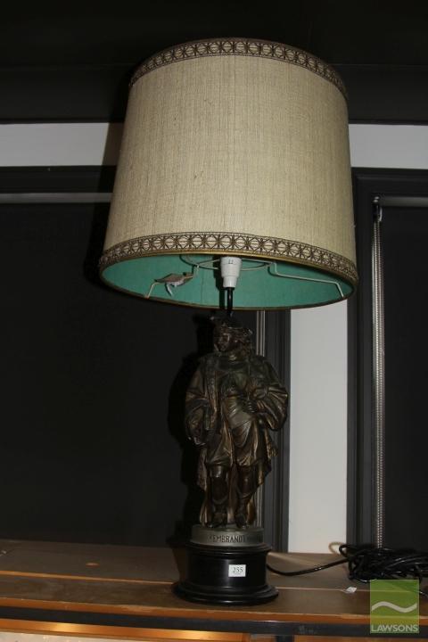 Metal Figural Lamp Depicting Rembrandt