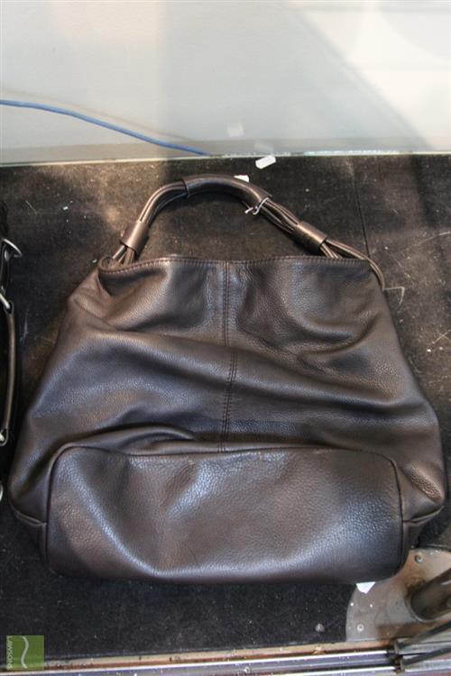 Oroton Black Leather Handbag; 40cm.