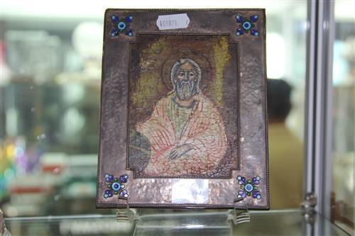 Framed Russian 950 Silver & Enamel Oklad Icon