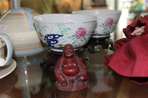 Chinese Famille Rose Pair of Bowls (1 a.f.) with Minaiture Buddha Figure