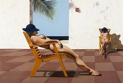 JILL DEL MACE (born 1947) - The Sunbathers oil on canvas