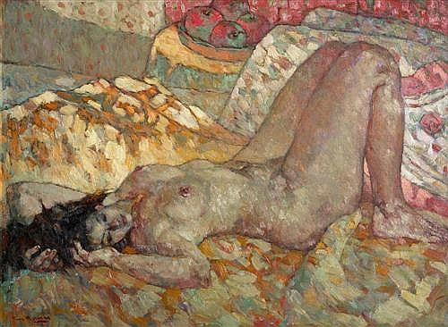 FU HONG (born 1946) - Nude - Soft Glow oil on canvas
