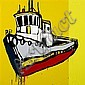 JASPER KNIGHT (born 1978) - Floating Yellow Tug Boat 2010 enamel, masonite and perspex on board, Jasper Knight, Click for value