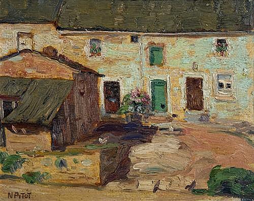 NICOLAS PITOT (1890-1971, Austrian) - Village Scene oil on board
