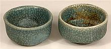 Chinese Celadon Crackle Glazed Pair of Wine Cups