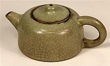 Chinese Celadon Crackle Glazed Tea Pot