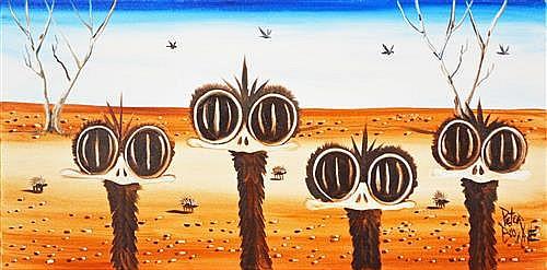 Peter Browne (1947 - ) - Four Emus 30 x 60cm