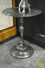 A Pair of Brushed Metal Bedside Tables or Occasional Tables of round top, raised on turned supports, each height 51cm.