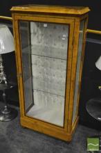 Glass Front Birds Eye Maple Veneered Display Cabinet
