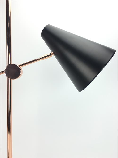 A Pair of Contemporary Adjustable Bedside Lights in copper and black metal, H 71cm