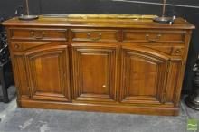 Oversized Cherrywood Sideboard w Drawers Above Double Hinged Panel Doors