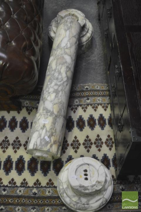 Late 19th Century Figured & Turned Marble Pedestal (some faults)
