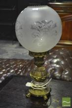 Brass Base Table Lamp with Glass Ball Shade