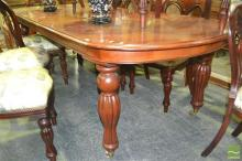 Timber Extension Dining Table with Single Leaf on Castors