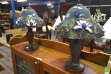 Pair of Glass Shade Table Lamps