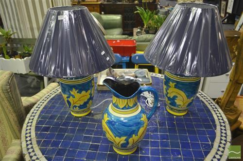 Pair of Hand Painted Italian Table Lamps w Matching Jug  (3311, 3313)