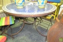 Garden Table with Mosaic Top and Cast Iron Base