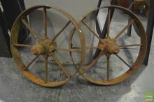 Pair of Vintage Metal Wheels