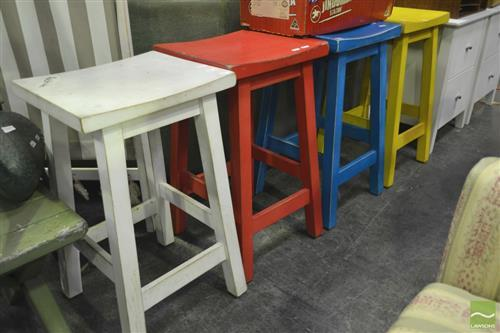 Set of Four Various Painted Stools