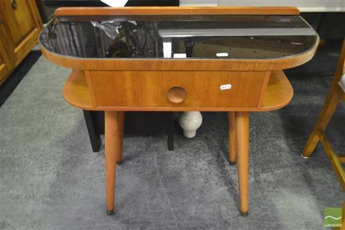 Single Drawer Telephone Table w Black Glass Top