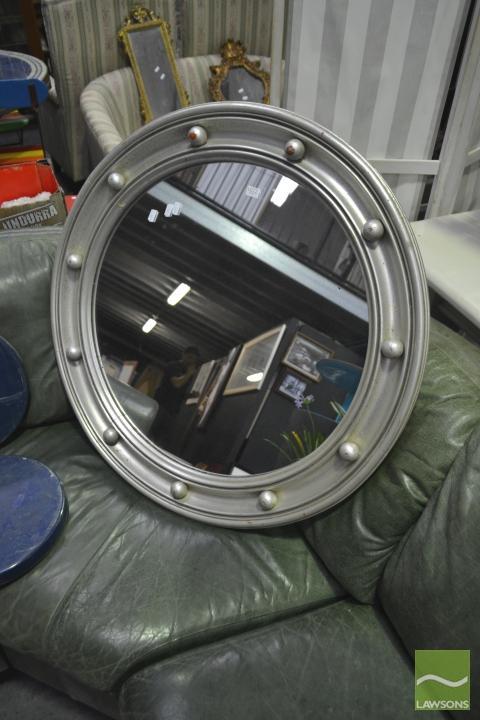 Large Silver Porthole Style Mirror