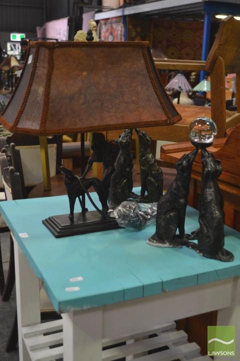 Greyhound Table Lamp and 2 Garnish