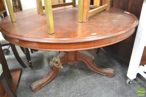 Round Timber Table on Carved Tripod Base - Damage to Leg