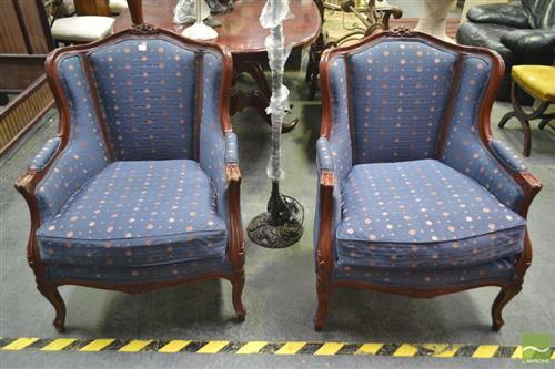 Pair of Timber Framed Armchairs