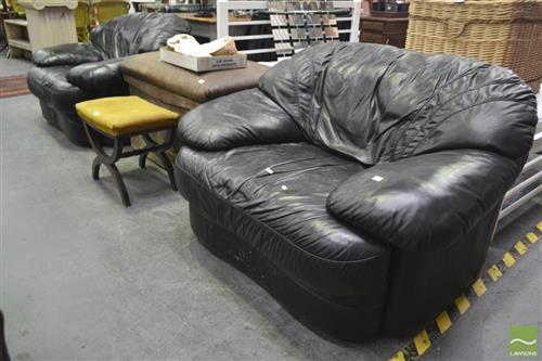 Pair of Black Leather Plush Armchairs