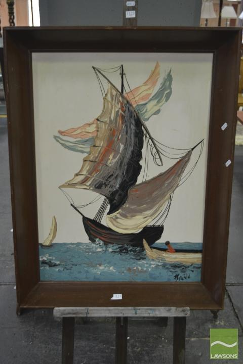 Framed Art Work of Sailing Ship Signed Lower Right