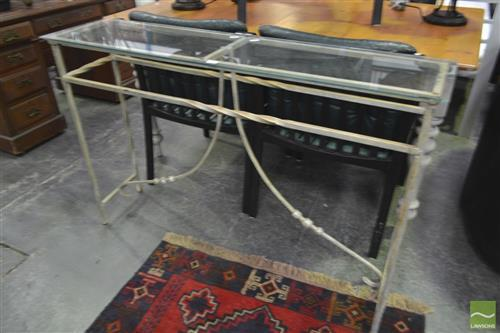 Glass Top Iron Base Hall Table