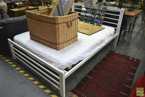 A White Metal Framed Double Bed with Mattress