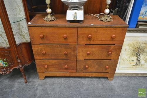 Timber Chest of Six Drawers