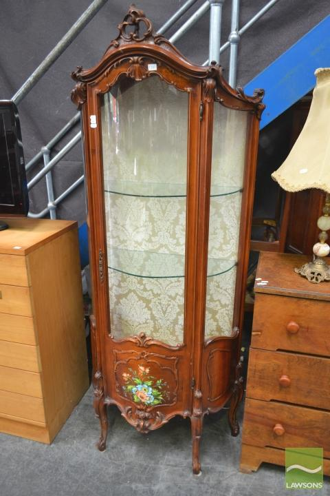 Ornately Carved Hand Painted Vitrine