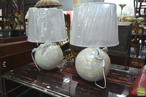 Pair of Lamps w Pear Finish (2994)