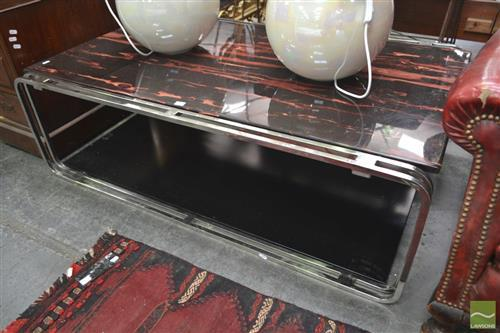Tiered Coffee Table w Steel Frame