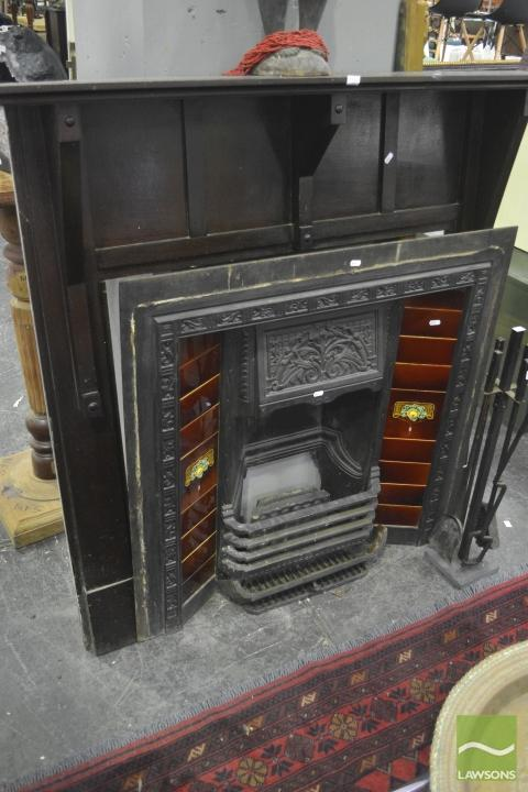 Antique Cast Iron Fireplace w Tile Surround & Timber Mantle, complete w Fire Gate