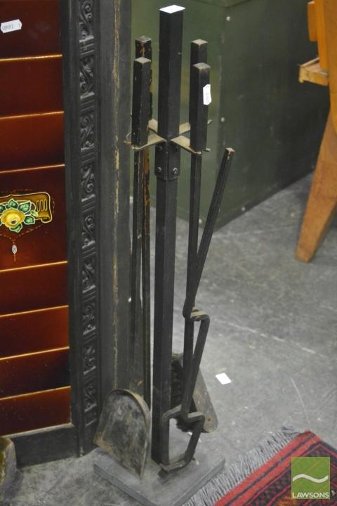 Set of Fire Tools and Brass Bucket