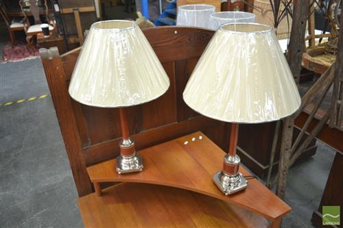 Pair of Metal Based Lamps w Leather Banding (5703)