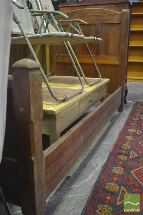 19th Century French Pitch Pine Single Bed, with rails