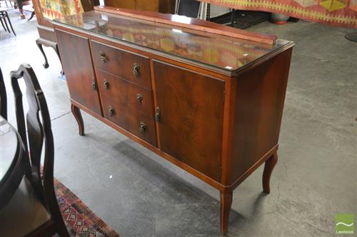 Raised Sideboard w 2 Doors Flanking 3 Central Drawers