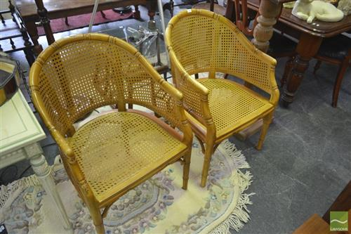 Pair of Tub Chairs w Rattan Seats