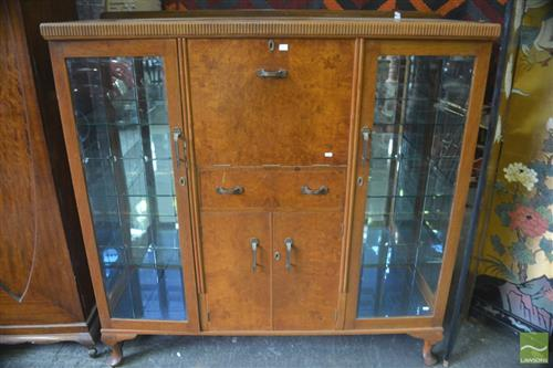 Art Deco Cocktail & Display Cabinet w Cut Glass