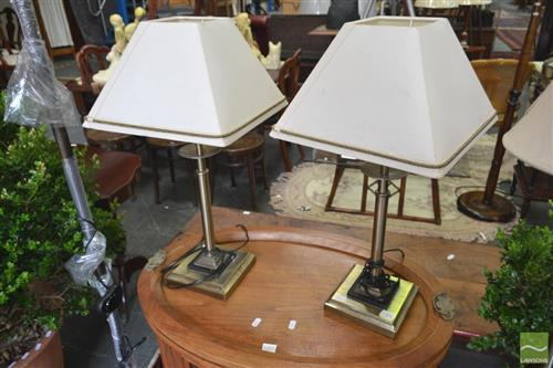 Pair of Column Form Lamps