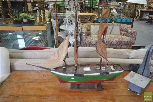 A timber model of a Spanish galleon with rigging and sails, H 88 x L 100cm