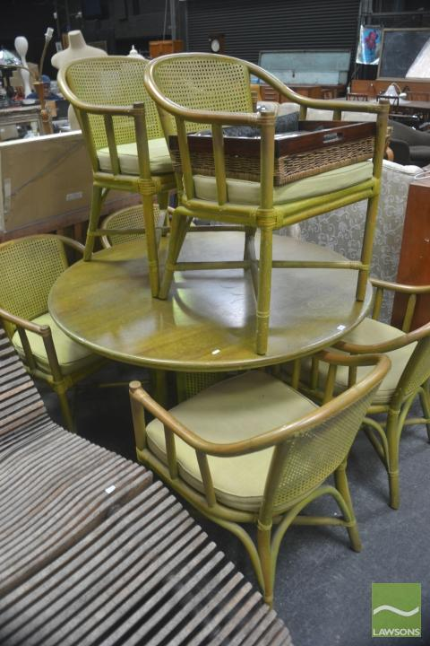 Green Cane Outdoor Suite Of Five Chairs And Round Table