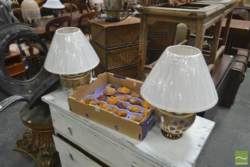 Pair of Italian Hand Painted Lamps (3856)