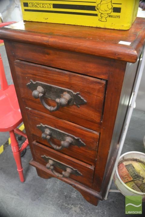 Raised Timber Chest of Three Drawers